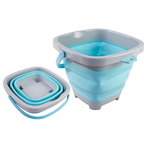 DT Toys Multi-Function Square Foldable Pail Silicone Collapsible Bucket 5 Liter, Fishing Pail Sand Beach Pail for Kids (Blue) by DT Toys (Image #7)
