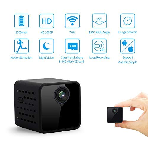 JOYTRIP Mini WiFi Hidden Camera Built-in 1700mAh Battery 10-Hours Usage Time Wireless HD 1080P Hidden Cam Home Security Nanny Cam with Motion Detection/Night Vision for iPhone/Android(No TF Card)