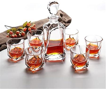 Juego de vasos de whisky y decantador de whisky de 700 ml con 6 vasos de whisky de 200 ml para el hogar (color transparente, tamaño: 7 piezas)
