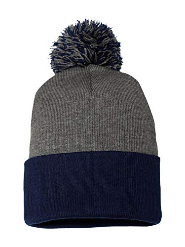 Sportsman Pom-pom Knit Cap, Dark Heather Grey/Navy