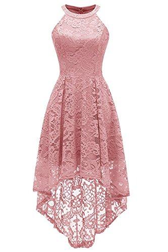 MisShow Abendkleid Kurz Neckholder Kleid Vorne Kurz Hinten Lang  Cocktailkleid Festliches Spitze Kleid S-XXL fc50da99ca