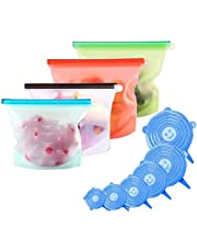 Silicone Food Storage Bag & Silicone Stretch Lids, Eco-Friendly Reusable Food Wraps and Covers, Airtight Seal Food Preservation Bags for Vegetable, Fruit, Snack, Lunch