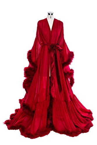 - BBCbridal Women Sexy Feather Long Wedding Scarf Illusion Nightgown Robe Perspective Sheer Bathrobe Sleepwear A Burgundy S/M