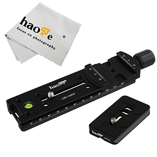 Haoge 140mm Nodal Slide Double Dovetail Focusing Rail Plate with Metal Quick Release Clamp and 70mm Plate for Camera Panoramic Panorama Close Up Macro Shoot fit Arca Swiss RRS Benro Kirk