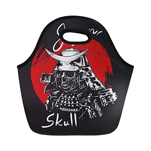 Semtomn Neoprene Lunch Tote Bag Helmet Samurai Skull Warrior Ink Ninja Ancient Armor Armour Reusable Cooler Bags Insulated Thermal Picnic Handbag for Travel,School,Outdoors,Work ()