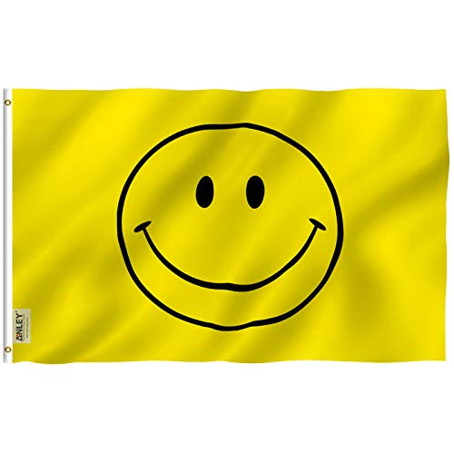 Anley Fly Breeze 3x5 Foot Yellow Smiley Face Flag - Vivid Color and UV Fade Resistant - Canvas Header and Double Stitched - Happy Face Flags Polyester with Brass Grommets 3 X 5 Ft]()
