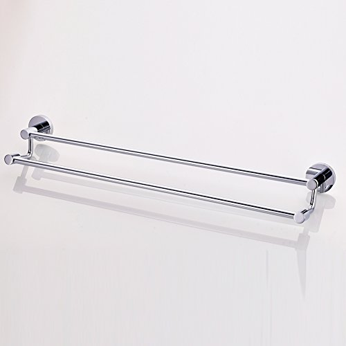 Chrome Double Towel Rack (ROVATE 25-inches Bathroom Double Towel Bar, Wall Mount Double Shelf Rack Hanging Towel for Bathroom Storage, Chrome)