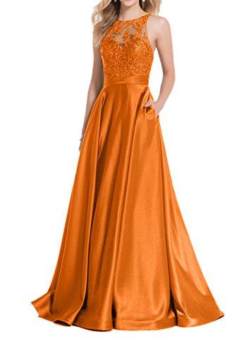 Lang Brautmutterkleider Abendkleider Damen Spitze Festlichkleider Satin Orange Charmant Gruen Ballkleider A Linie Rock wYAq4T4