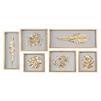 Uttermost Golden Leaves Shadow Box Wall Panel - Set of 6 (Cohen Furniture Collection)