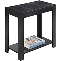 Crown Mark Pierce Chairside Table with Crocodile Top, Black