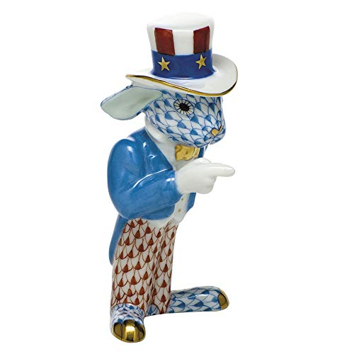 Herend Patriotic Bunny Rabbit Porcelain Figurine Multicolor