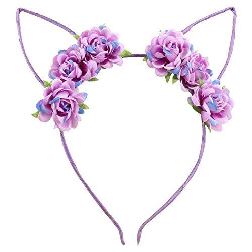 Cute 70s Costumes (ACTLATI Cute Rose Flower Headband Devil Rabbit Ears Hair Band Cosplay Party Fancy Dress Headwear Purple)