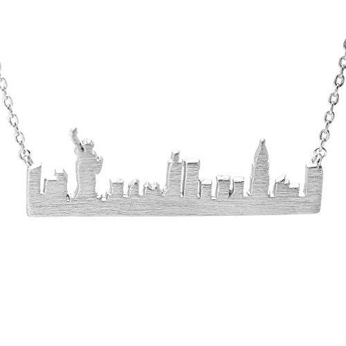 SpinningDaisy Handcrafted Empire State Building NYC Cityscape Necklace Silver