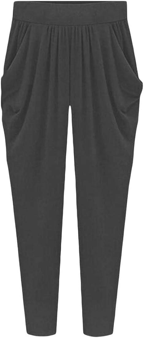 Comaba Womens Pure Colour Wide Leg Pants Harem Overalls Pant Jumpsuits