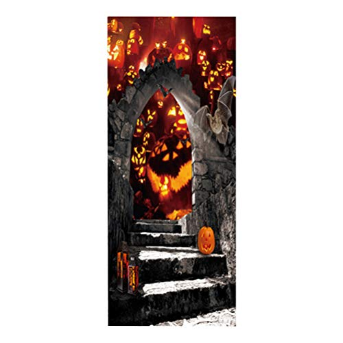 VORCOOL Flaming Pumpkin Pattern Door Sticker Self Adhesive Removable Door Wall Mural Wallpaper for Halloween Decoration Party Supplies (Style 55)