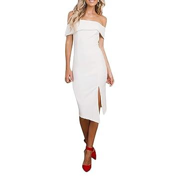Bluestercool Femmes Sexy Sans Bretelles Dos Nu Robe de Soirée Été Fashion  Couleur Unie Sans Manches 9edbd8ca0d9