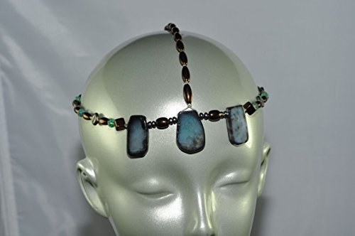 Blue Agate Stone Beaded Headdress by Amy Delson Jewelry
