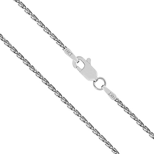 Honolulu Jewelry Company 14K Solid White Gold 1mm Spiga Wheat Diamond Cut Chain Necklace - 18 Inches