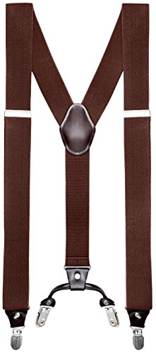 Buyless Fashion Mens 48'' Elastic Adjustable 1 1/4'' Suspenders In Y Shape - Brown by Buyless Fashion