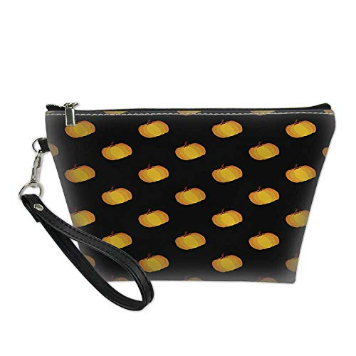 bag for makeupportable cosmetic bagBlack Orange Holiday Seamless Halloween Pattern 8.5