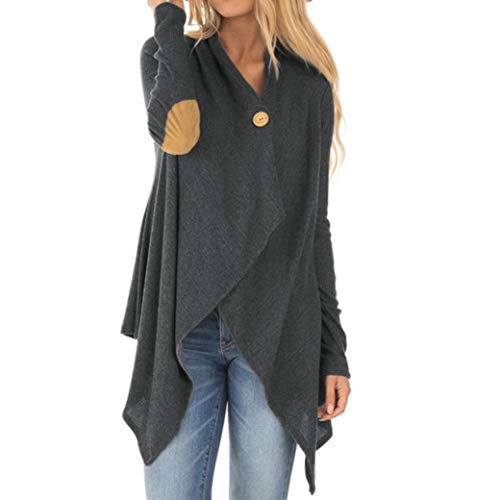 GOVOW Irregular Tunic Tops for Women Cotton Long Sleeve Patchwork Open Front Outwear Coat