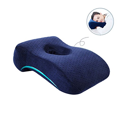 Zerlar Memory Cotton Lunch Break Face Down Head Rest Pillow Cushion for Office Student Travel (Navy Blue)