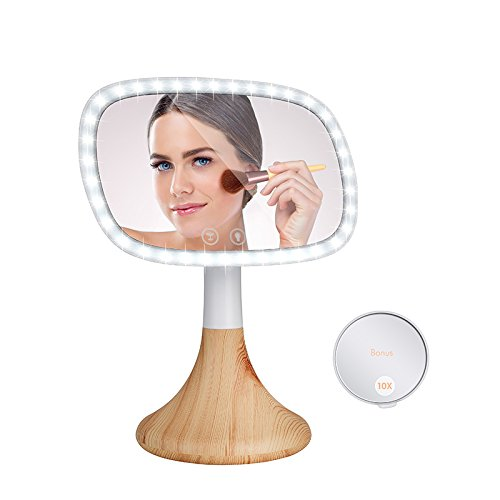 Dependable Direct Lighted Makeup Mirror – Incredibly Bright LED Light – Wireless Capabilities – and Stylish - with 10x Magnification Spot Mirror - Mirror with Wood Grain Finish Base by Dependable Direct (Image #5)