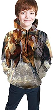 Youth Hoodie Sweatshirt, Running Horse Oil Painting Realistic 3D Digital Printed Pullover Tops for Boys Girls