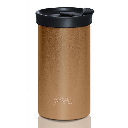 Presse by bobble Coffee & Tea Maker, Press Coffee Maker, Travel Tumbler, Stainless Steel, On the Go Brewer, Brew Press & Go, Portable Coffee Brewer and Tumbler in One, 13 oz., Copper