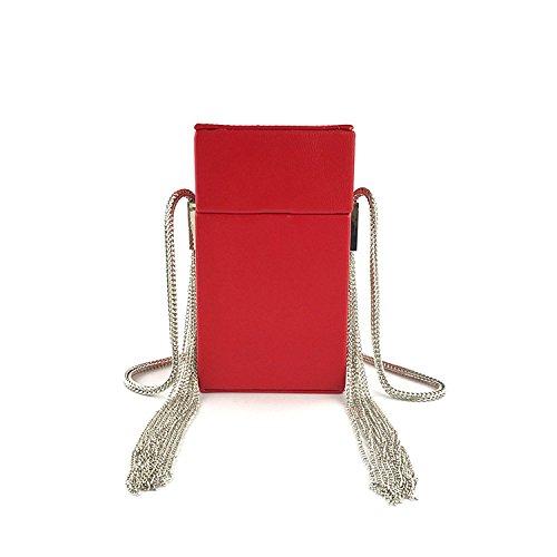 Shoulder Clutch Ladies Personalized Chain Fringe Red Chain Case Cigarette One Bag Messenger Evening q88Xrw4