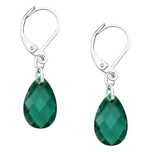 (Falari Glass Crystal Earring Leverback High Polished Rhodium Emerald)