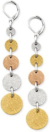 Stainless Steel Tri-Color Plated Discs Leverback Earrings
