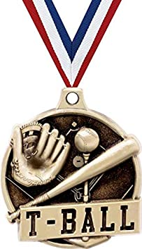 1 1//2 Gold T Ball Medals T-Ball Medals Great Kids Tball Awards with Custom Engraving
