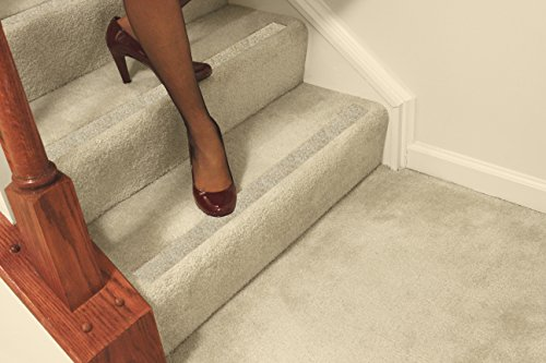 No-slip Strips - Non-Slip Nosing for Increased Safety On Carpeted Stairs, Beige-Gravel Color, MEDIUM Grit Traction for Indoor Carpeted Stairs, 34x2 Inches, 5 Strips by No-slip Strip (Image #2)