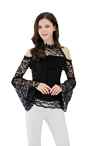 UP Ultrapink Junior Womens Lace Blouse Ruffle At Bust Crochet Trimmed Halter (Trimmed Ruffle Lace)
