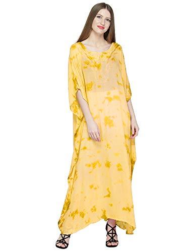 (SKAVIJ Women's Caftan Tunic Embroidered Rayon Tie-Dye Beach Maxi Dress (One_Size, Yellow))