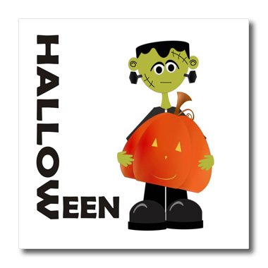 3dRose ht_25978_1 Frankenstien and Pumpkin Halloween-Iron on Heat Transfer for White Material, 8 by -