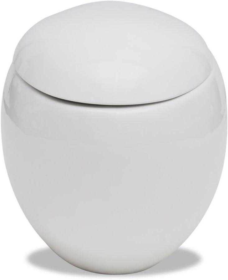 vidaXL Wand Hänge WC Ei Design Keramik Softclose WC-Sitz Toilette Schwarz//Weiß