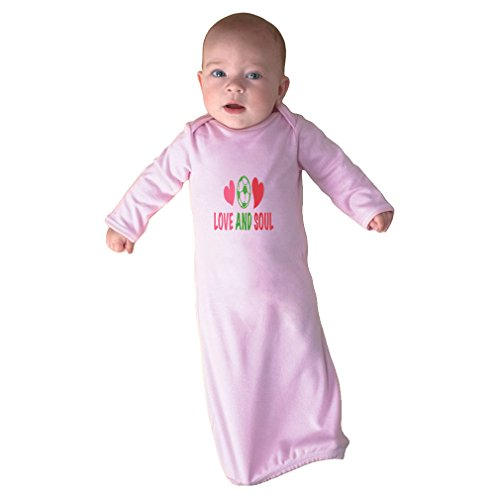 Cute Rascals Heart and Soul Soccer Infant Baby Combed Ring-Spun Cotton Sleeping Gown - Soft Pink, Gown & Hat Set by Cute Rascals