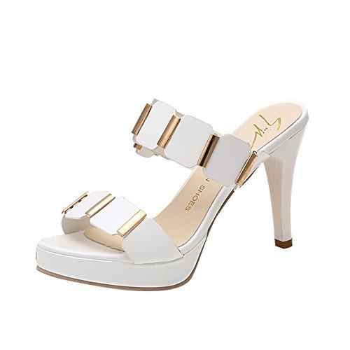 (Nevera Women's High Heels Sandals,Ladies Open Toe Stilettos Dress Pumps Slipper White)