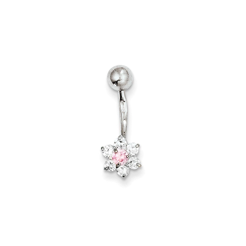 10k White Gold With Cz Flower Pink Center Belly Dangle