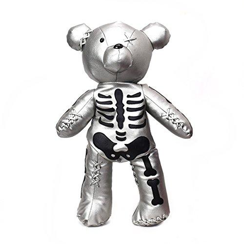 Cobrays Large PU Leather Teddy Bear Backpack Fashion One-eyed Bear School Bag Mini Crossbody Bag for Women Girls (Silver)