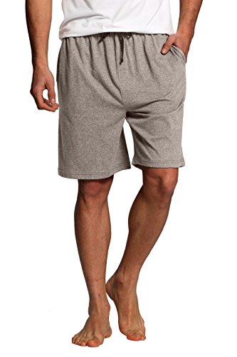 Worn 100% Cotton Short - CYZ Men's Sleep Shorts - 100% Cotton Knit Sleep Shorts & Lounge Wear-Grey Melange-XL