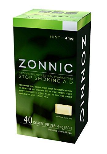 Quit Smoking Patch - ZONNIC Nicotine Gum 4mg Mint - 40 Count - Quit Smoking AIDS, Sugar Free Stop Smoking Gum