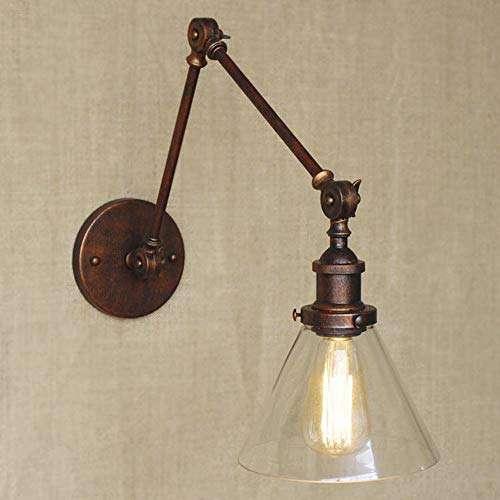 BAYCHEER Antique Wall Sconce Lighting Swing Arm Wall Sconce Lamp Decorative Industrial Light Fixture Adjustable Wall Sconce for Living Room Dining Room bar - Arm Swing System