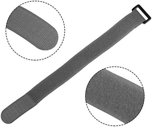 uxcell フックとループのストラップ 25mm x 300mmストラップ固定 再利用可能な固定ケーブルタイ(グレー)10個