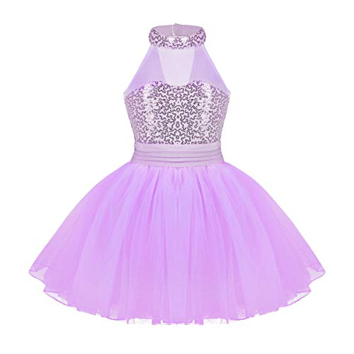 Agoky Kids Girls Halter Sleveeless Sequins Mesh Ballet