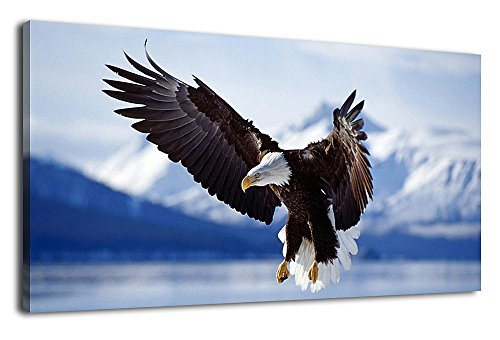 arteWOODS Large Canvas Wall Art Eagle Flying on Lake Picture Bald Eagle Snow Mountain Canvas Artwork Painting Prints for Home Decoration Framed Ready to Hang 20
