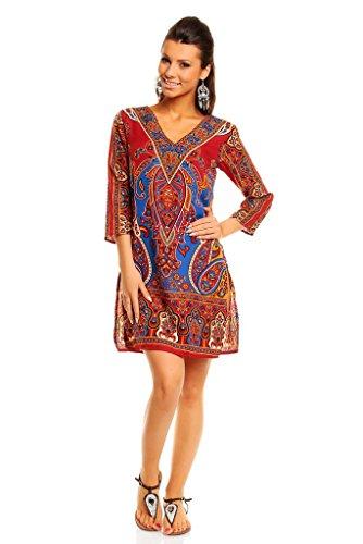 Looking Glam, Mini vestido para mujer, estilo Tribal, Túnica estampada, caftán para verano–tallas 36–�?6 Rosso