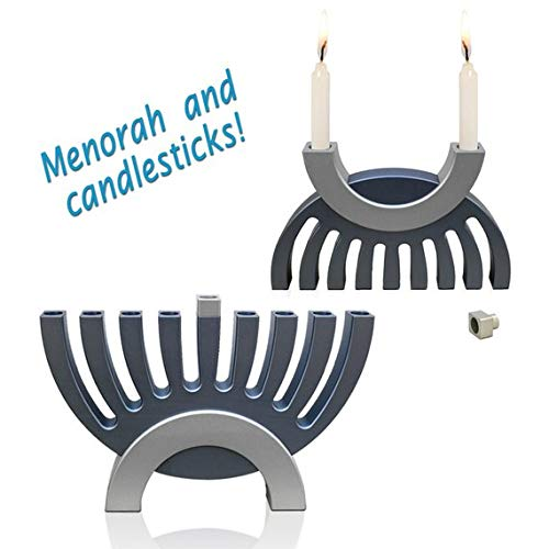 Candle Holders and Hanukkah Menorah - Sabbath Candlesticks, Dual purpose - matte finish-Hard-Anodized Aluminum Many optional colors -Judaica gift -Jewish gifts- by Nadav Art